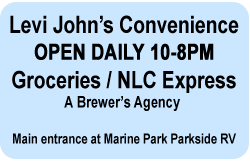 Levi John's Convenience. Groceries, NLC Express. Main Entance at Marine Park Parkside RV