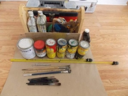 For sale sign making supplies, 13 cans (some used) ...