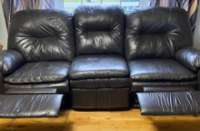 2 piece, chocolate brown leather set, both have recliners ...