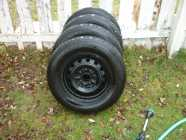 4 15IN HANKOOK A/S TIRES P195/65R15 ON 5 HOLE RIMS