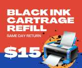 Black INK printer cartridge refill