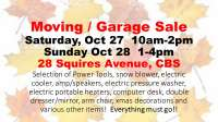 Moving / Garage Sale Oct 27 & 28 in CBS