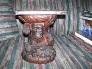 Plaster Chimpanzee Table Plant Stand in excellent