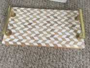 Cream color Tray with gold color handles