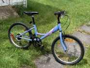 Young Girls Blue Bike